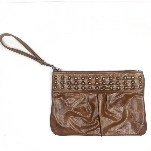 Express Brown Studded Leather Wristlet